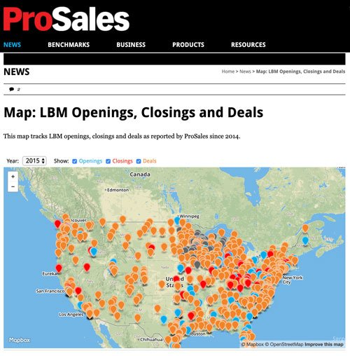 ProSales map: openings, closings, and deals